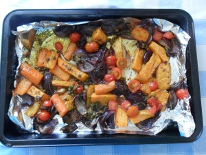 Roasted Parsnips and Sweet Potato