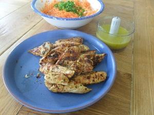 Saffron Spicy Chicken and, Carrot Salad