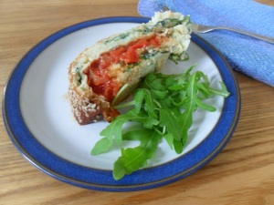 Spinach, Roast Pepper and Tomato Roulade