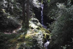 Poulanass waterfall running into Lugduff Brook