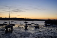 Silhouetted boats