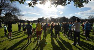 Warming up at Raheny Parkrun