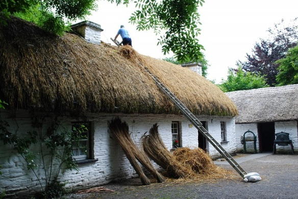 Thatching the fisherman's cottage